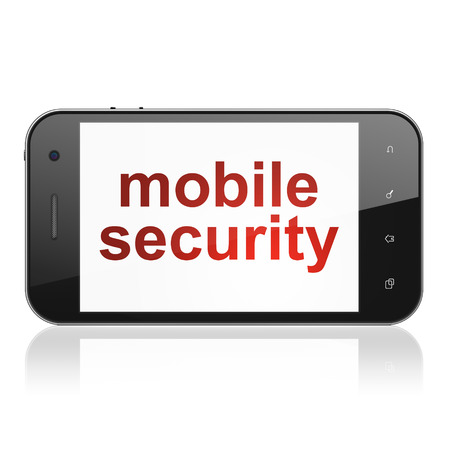 Protection concept: smartphone with text Mobile Security on display. Mobile smart phone on White background, cell phone 3d render photo