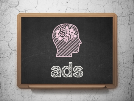Marketing concept: Head With Finance Symbol icon and text Ads on Black chalkboard on grunge wall background, 3d render photo
