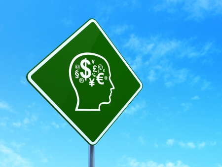 Marketing concept: Head With Finance Symbol on green road (highway) sign, clear blue sky background, 3d render photo