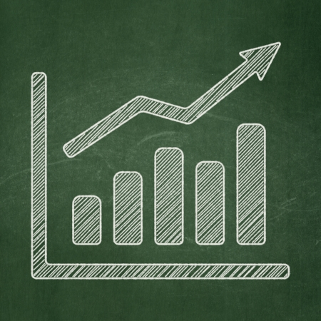 News concept: Growth Graph icon on Green chalkboard background, 3d render photo