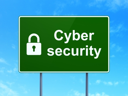 Security concept: Cyber Security and Closed Padlock icon on green road (highway) sign, clear blue sky background, 3d render photo