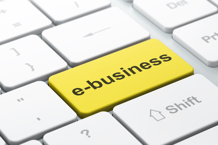 ebusiness: Finance concept: computer keyboard with word E-business, selected focus on enter button background, 3d render