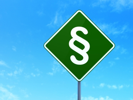 Law concept: Paragraph on green road (highway) sign, clear blue sky background, 3d render photo