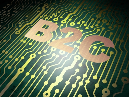 b2c: Business concept: circuit board with Metal word B2c, 3d render