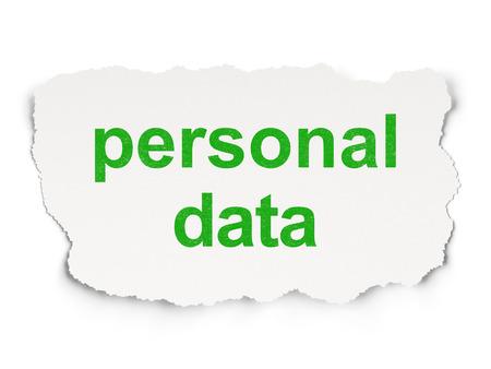 datos personales: Concepto de la informaci�n: el papel rasgado con las palabras de datos personales en el fondo de papel, 3d