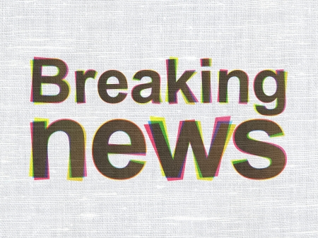 News concept: CMYK Breaking News on linen fabric texture background, 3d render photo