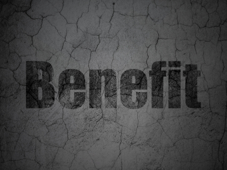 buisnes: Finance concept: Black Benefit on grunge textured concrete wall background, 3d render