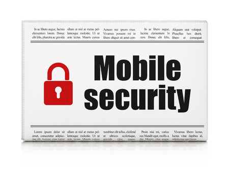 Safety news concept: newspaper headline Mobile Security and Closed Padlock icon on White background, 3d render photo