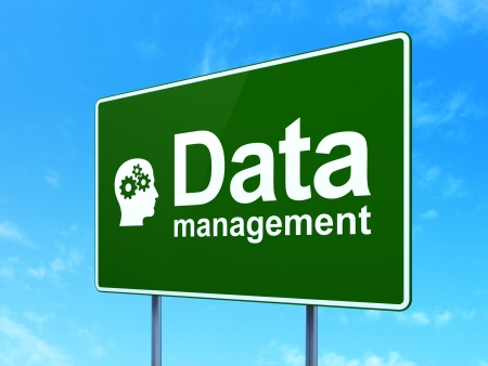 Data concept: Data Management and Head With Gears icon on green road (highway) sign, clear blue sky background, 3d render photo