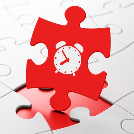 Time concept: Alarm Clock on Red puzzle pieces background, 3d render photo
