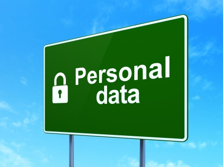 Information concept: Personal Data and Closed Padlock icon on green road (highway) sign, clear blue sky background, 3d render photo