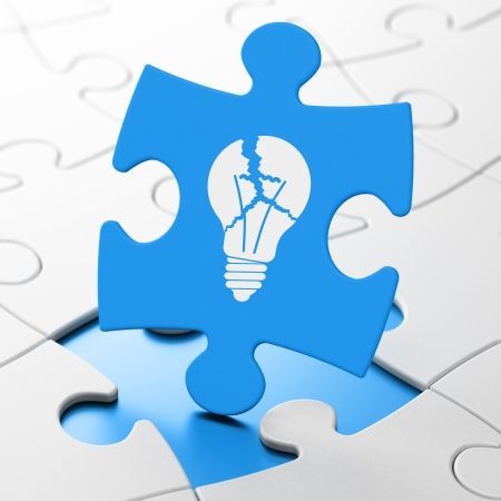Business concept: Light Bulb on Blue puzzle pieces background, 3d render photo