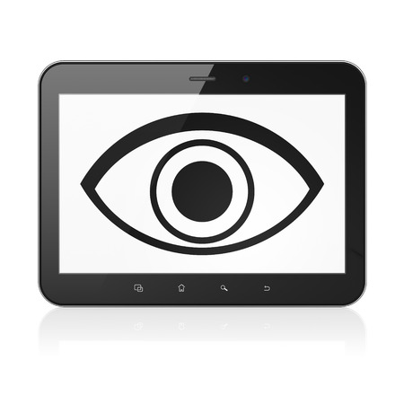 eye pad: Safety concept: black tablet pc computer with Eye icon on display. Modern portable touch pad on White background, 3d render