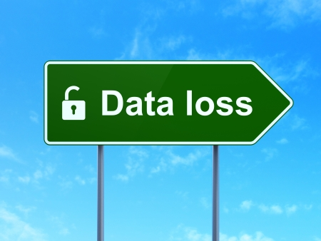 Data concept: Data Loss and Opened Padlock icon on green road (highway) sign, clear blue sky background, 3d render photo