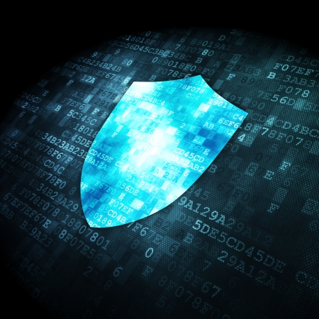 Privacy concept: pixelated Shield icon on digital background, 3d render