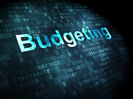 budgeting: Business concept: pixelated words Budgeting on digital background, 3d render Stock Photo