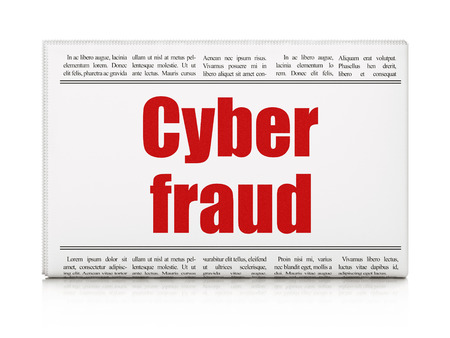 Safety concept: newspaper headline Cyber Fraud on White background, 3d render photo