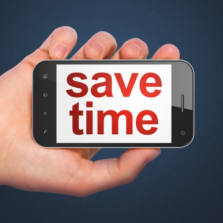 Timeline concept: hand holding smartphone with word Save Time on display. Mobile smart phone on Blue background, 3d render photo