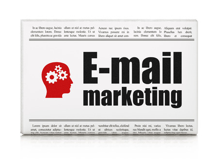 Marketing concept: newspaper headline E-mail Marketing and Head With Gears icon on White background, 3d render photo