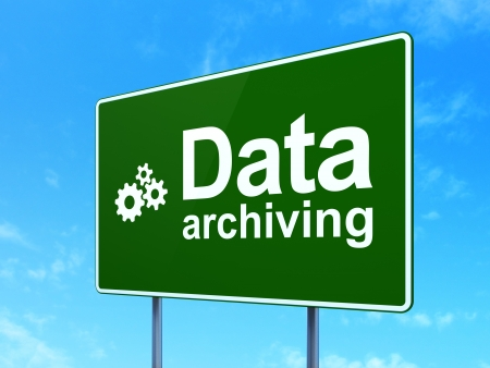 data archiving: Data concept: Data Archiving and Gears icon on green road (highway) sign, clear blue sky background, 3d render
