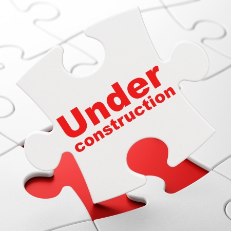 Web development concept: Under Construction on White puzzle pieces background, 3d render photo