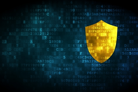 online privacy: Privacy concept: pixelated Shield icon on digital background, empty copyspace for card, text, advertising, 3d render Stock Photo