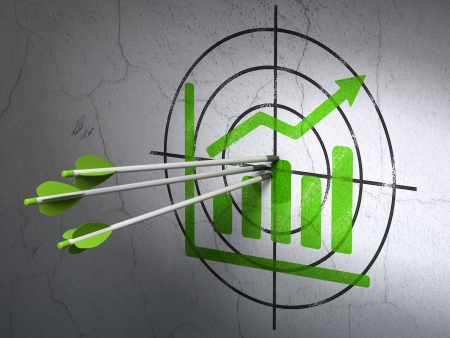 Success business concept: arrows hitting the center of Green Growth Graph target on wall background, 3d render photo