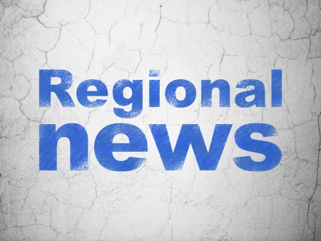 regional: News concept: Blue Regional News on textured concrete wall background, 3d render