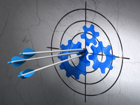 Success Data concept: arrows hitting the center of Blue Gears target on wall background, 3d render photo