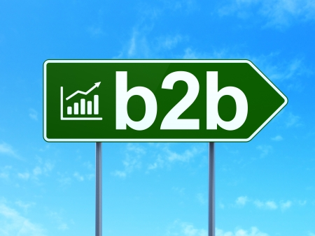 Finance concept: B2b and Growth Graph icon on green road (highway) sign, clear blue sky background, 3d render photo