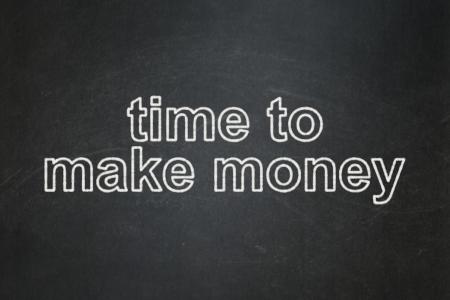Timeline concept: text Time to Make money on Black chalkboard background, 3d render photo
