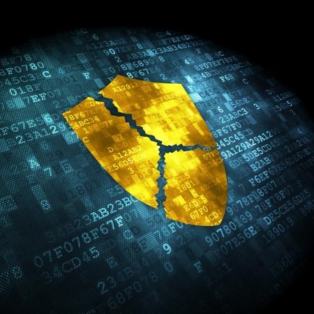 concept de protection: pixélisée icône de bouclier brisé sur fond numérique, rendu 3d