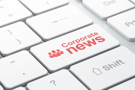 News concept: computer keyboard with Business People icon and word Corporate News, selected focus on enter button, 3d render photo