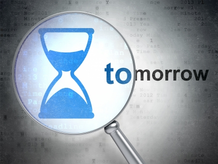 Time concept: magnifying optical glass with Hourglass icon and Tomorrow word on digital background, 3d render photo