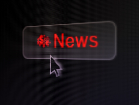News concept: pixelated words News and Finance Symbol icon on button withArrow cursor on digital computer screen background, selected focus 3d render photo