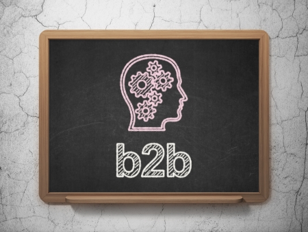 Finance concept: Head With Gears icon and text B2b on Black chalkboard on grunge wall background, 3d render photo