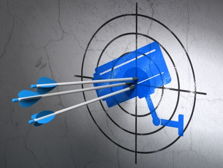 Success protection concept: arrows hitting the center of Blue Cctv Camera target on wall background, 3d render photo