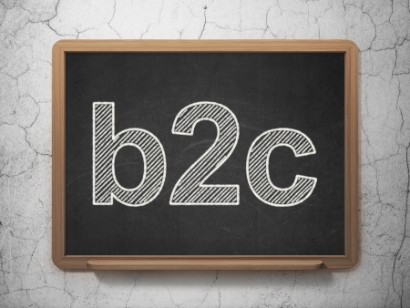 b2c: Business concept: text B2c on Black chalkboard on grunge wall background, 3d render
