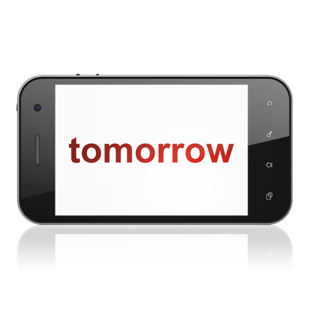 Time concept: smartphone with text Tomorrow on display. Mobile smart phone on White background, cell phone 3d render photo