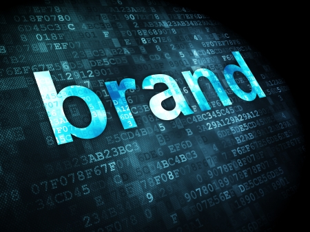 marketing concept: Marketing concept: pixelated words Brand on digital background, 3d render Stock Photo