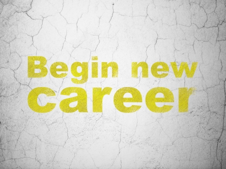 begin: Finance concept: Yellow Begin New Career on textured concrete wall background, 3d render Stock Photo