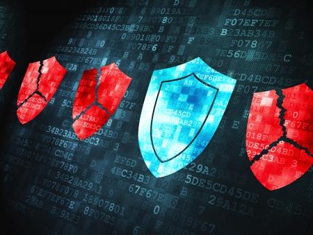 Veiligheidsconcept: korrelig Shield pictogram op digitale achtergrond, 3d render Stockfoto - 23914393