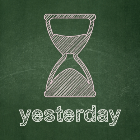 yesterday: Timeline concept: Hourglass icon and text Yesterday on Green chalkboard background, 3d render