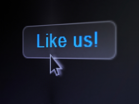 Social media concept: pixelated words Like us! on button with Arrow cursor on digital computer screen background, selected focus 3d render photo