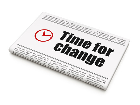 Timeline concept: newspaper headline Time for Change and Clock icon on White background, 3d render