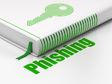 phishing: Protection concept: closed book with Green Key icon and text  Phishing on floor, white background, 3d render