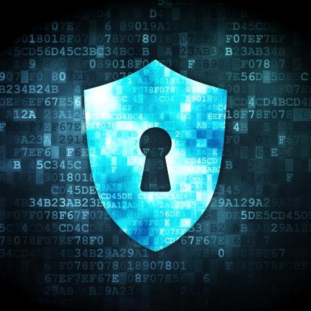 Concept de sécurité: Bouclier pixelisé avec Keyhole icône sur fond numérique, rendu 3d
