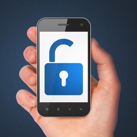 Information concept: hand holding smartphone with Opened Padlock on display. Mobile smart phone on Blue background, 3d render photo