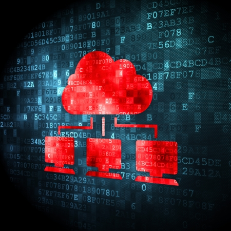 Cloud computing concept: pixelated Cloud Network icon on digital background, 3d render Stock Photo - 23961524
