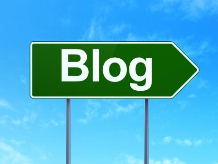 Web development concept: Blog on green road (highway) sign, clear blue sky background, 3d render photo
